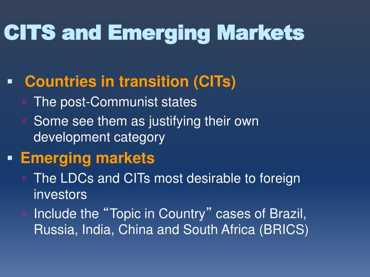 CITS and Emerging Markets