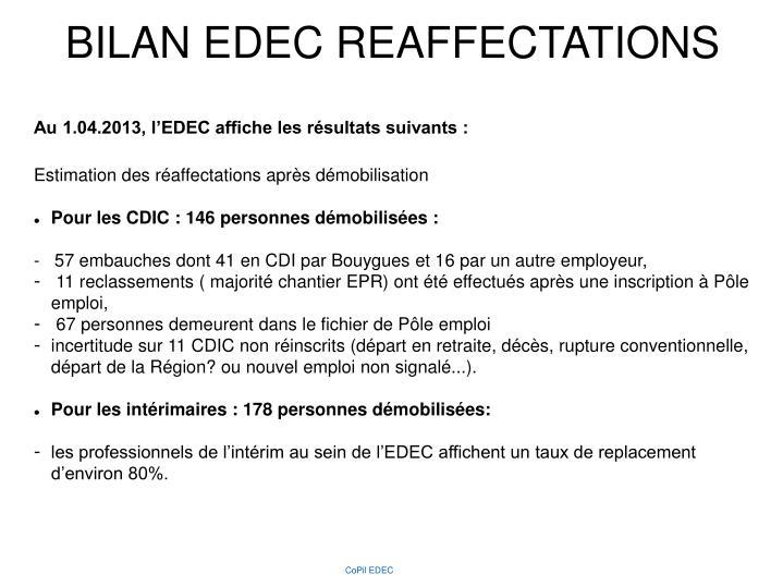 BILAN EDEC REAFFECTATIONS