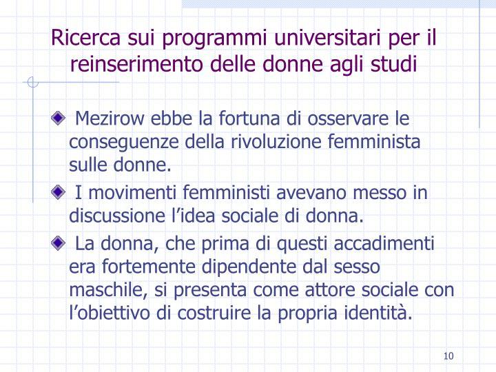 Ricerca sui programmi universitari per il reinserimento delle donne agli studi
