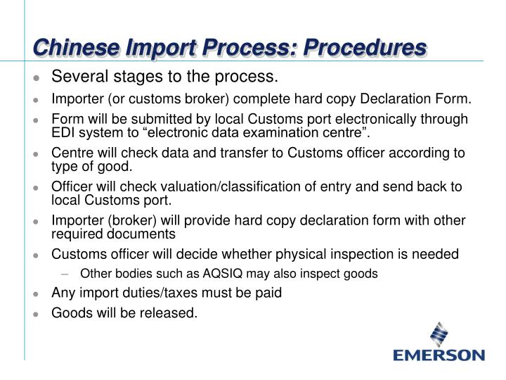 what is the process to import from china
