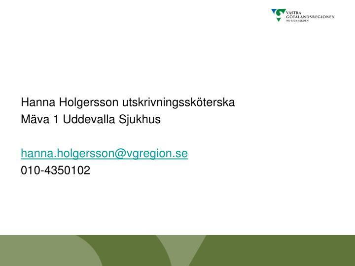 Hanna Holgersson utskrivningssköterska