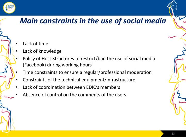 Main constraints in the use of social media