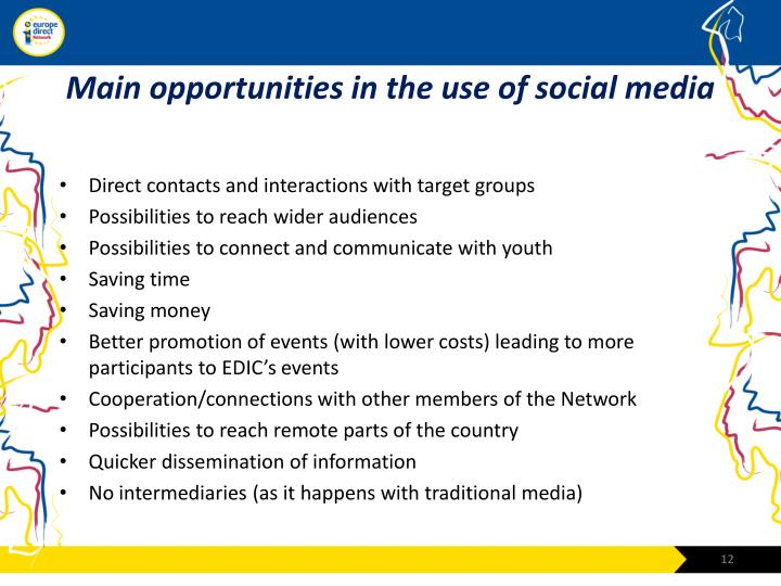 Main opportunities in the use of social media