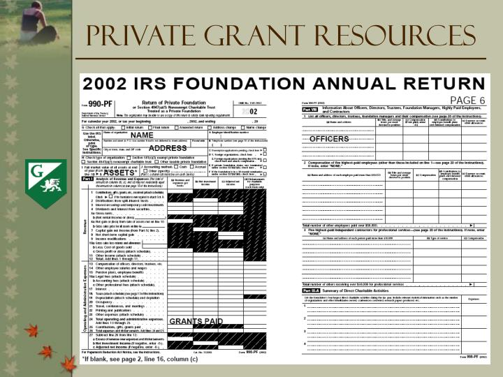 Private Grant Resources