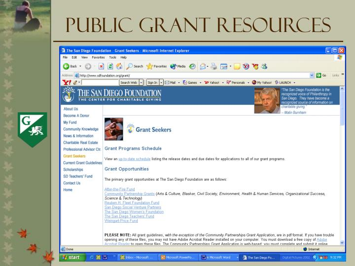 Public Grant Resources