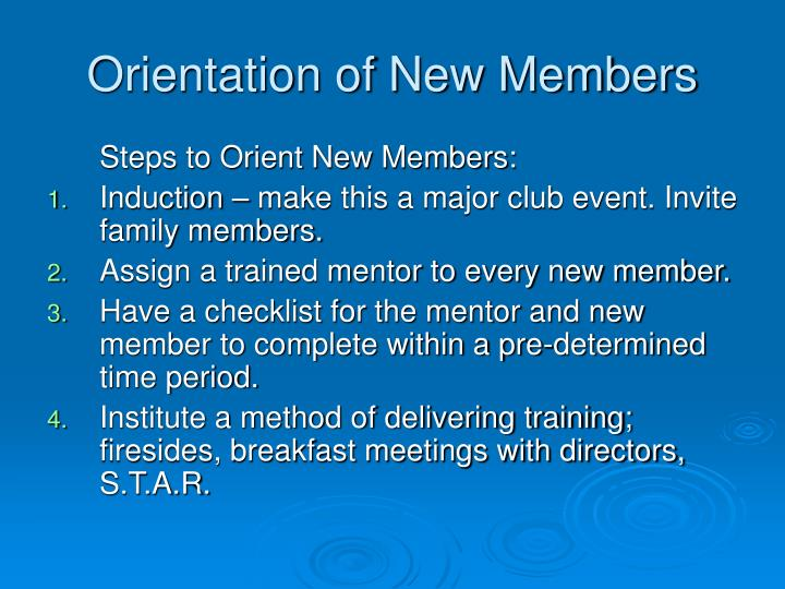 Orientation of New Members