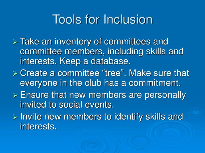 Tools for Inclusion