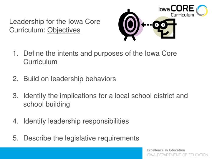 Leadership for the Iowa Core Curriculum: