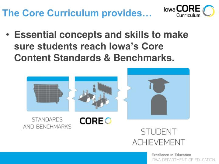 The Core Curriculum provides…