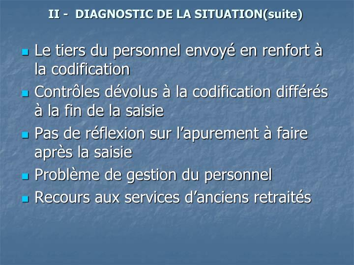 II -  DIAGNOSTIC DE LA SITUATION(suite)