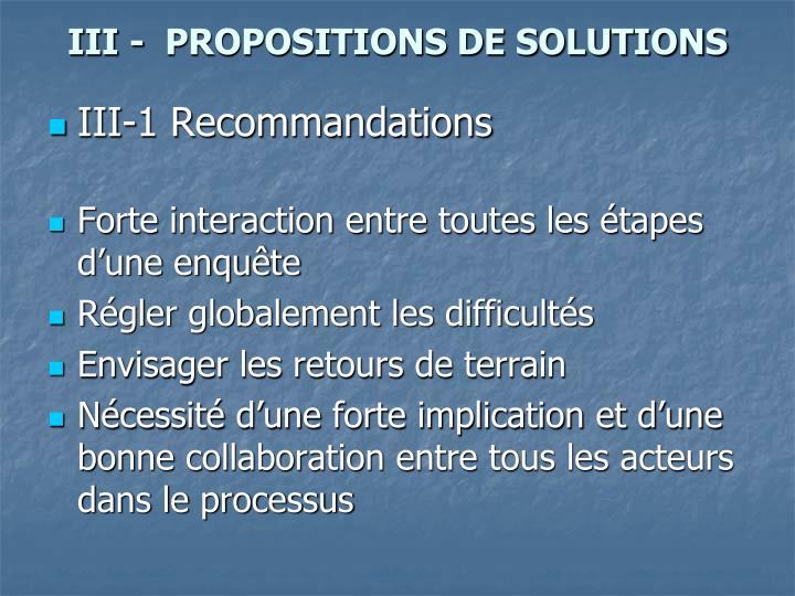 III -  PROPOSITIONS DE SOLUTIONS