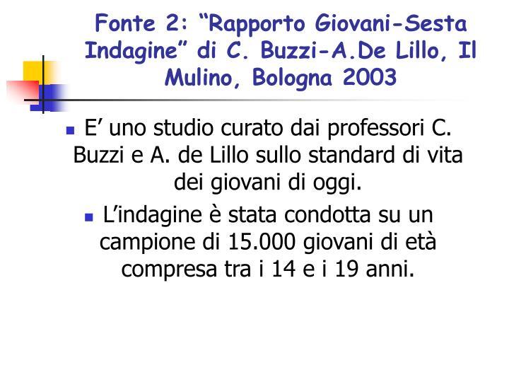 """Fonte 2: """"Rapporto Giovani-Sesta Indagine"""" di C. Buzzi-A.De Lillo, Il Mulino, Bologna 2003"""