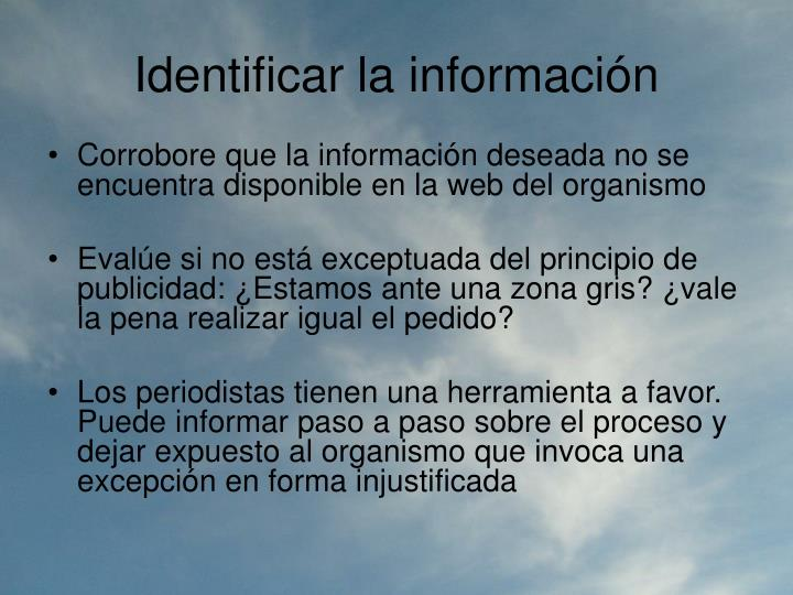 Identificar la información