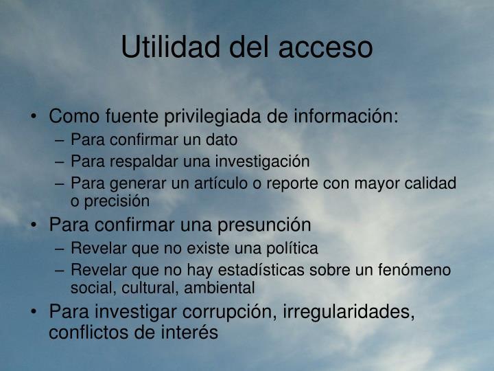 Utilidad del acceso