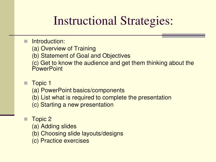 Instructional Strategies: