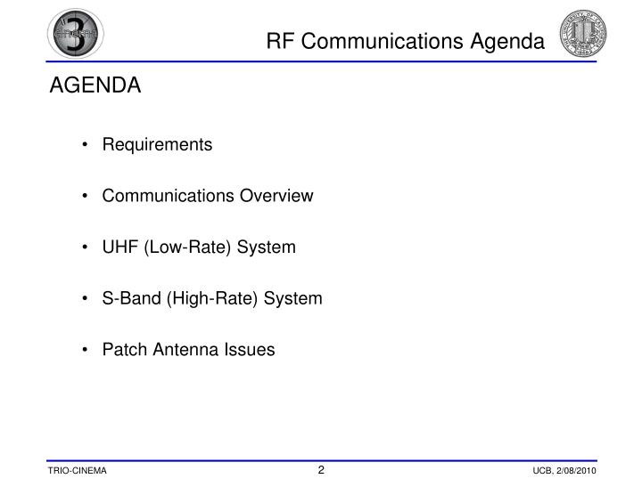 Rf communications agenda