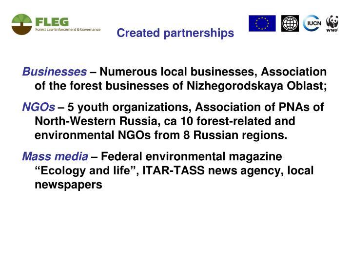 Created partnerships