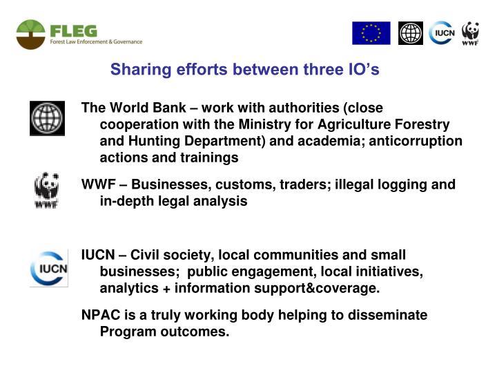 Sharing efforts between three IO's