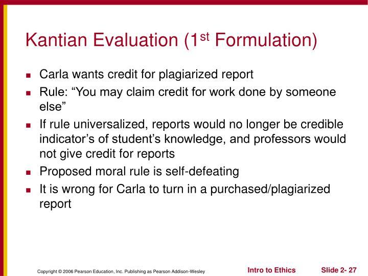 Kantian Evaluation (1