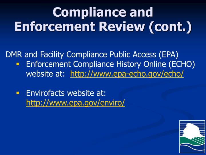 Compliance and Enforcement Review (cont.)
