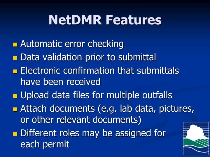 NetDMR Features