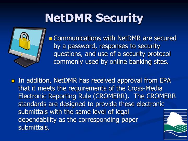 NetDMR Security