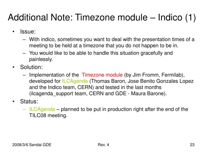 Additional Note: Timezone module – Indico (1)