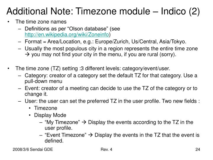 Additional Note: Timezone module – Indico (2)