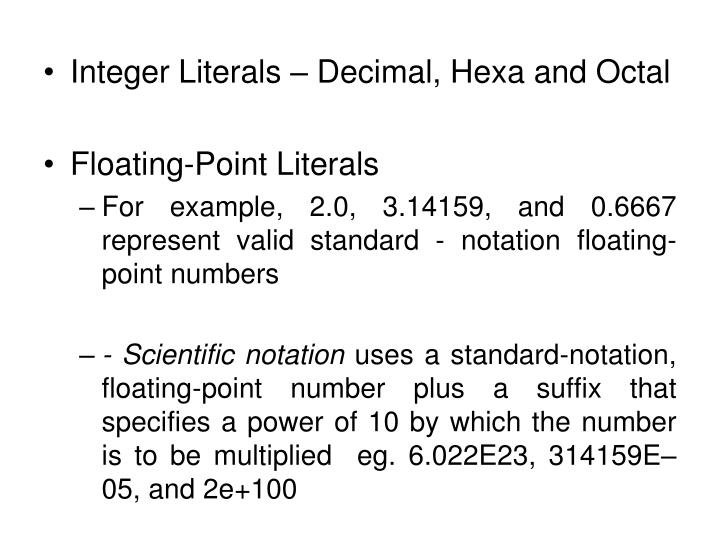 Integer Literals – Decimal, Hexa and Octal