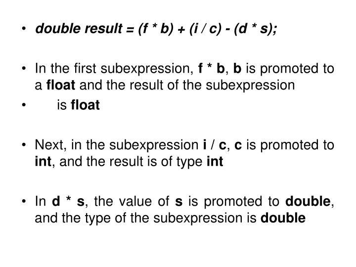 double result = (f * b) + (i / c) - (d * s);