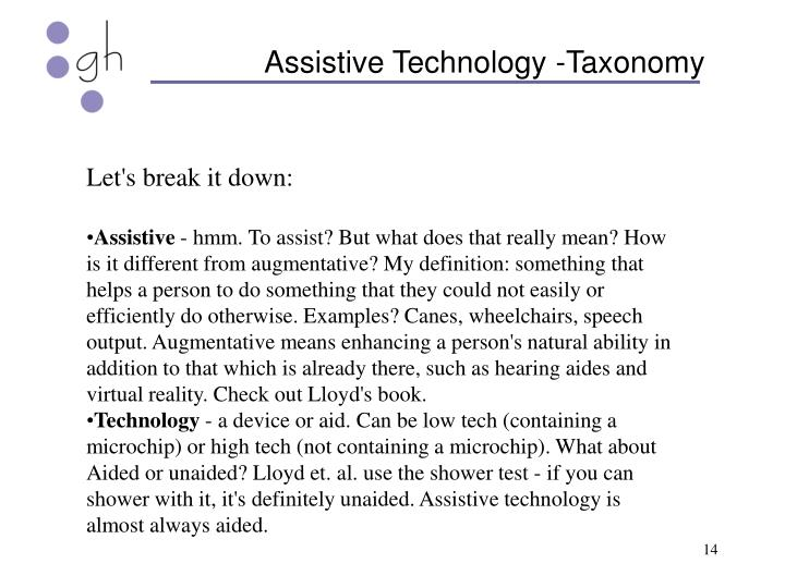 Assistive Technology -Taxonomy