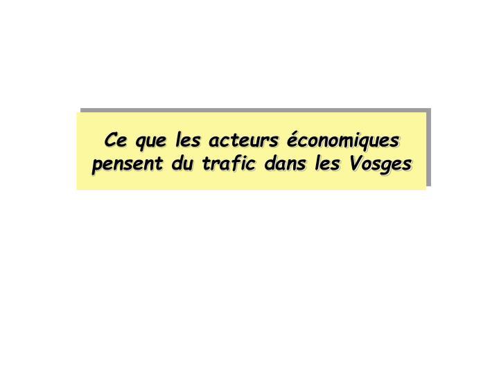 Ce que les acteurs économiques pensent du trafic dans les Vosges