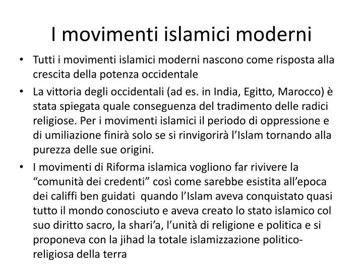 I movimenti islamici moderni