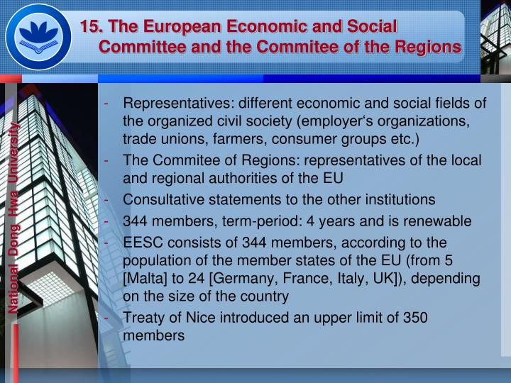 15. The European Economic and Social