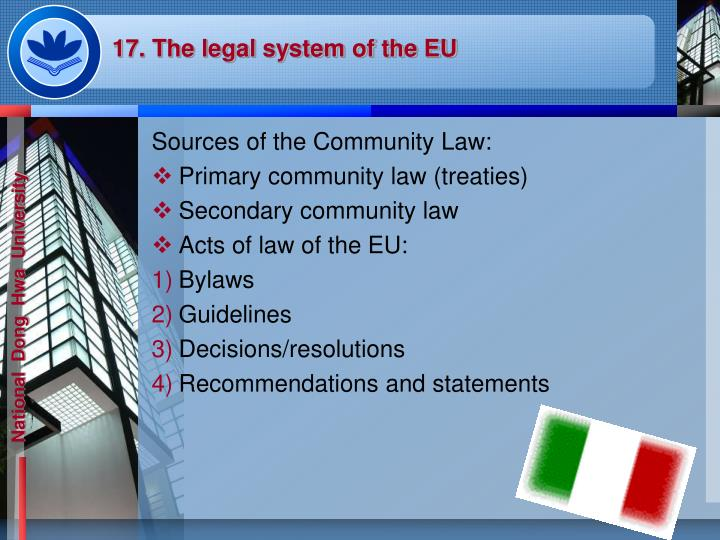 17. The legal system of the EU