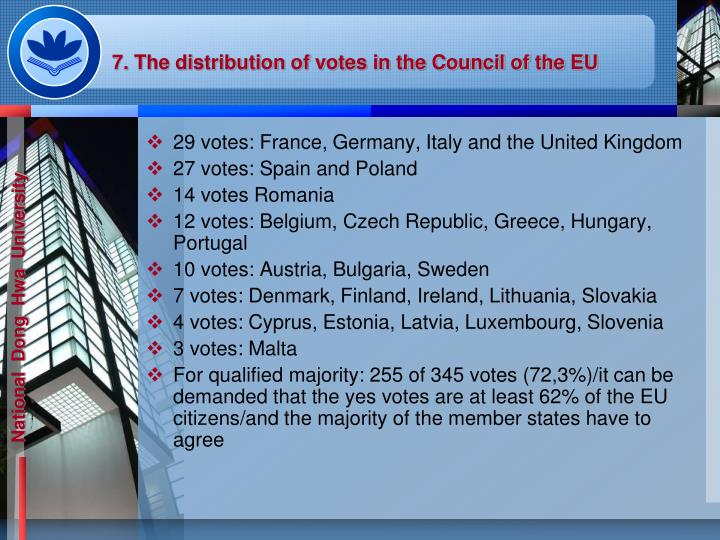 7. The distribution of votes in the Council of the EU