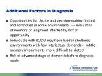 additional factors in diagnosis