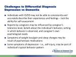challenges to differential diagnosis depression vs dementia
