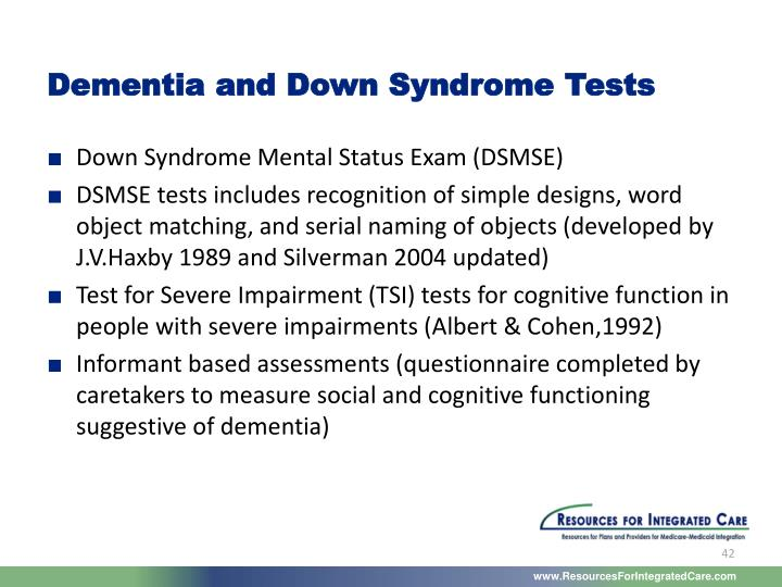 Dementia and Down Syndrome Tests