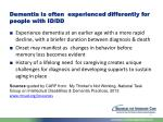 dementia is often experienced differently for people with id dd