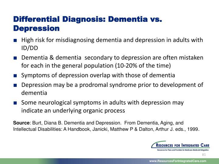 Differential Diagnosis: Dementia vs. Depression
