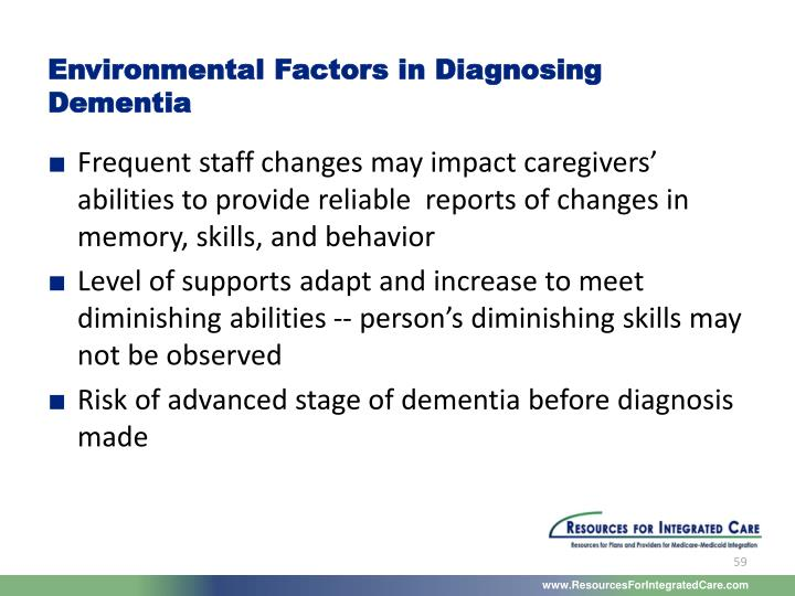 Environmental Factors in Diagnosing Dementia