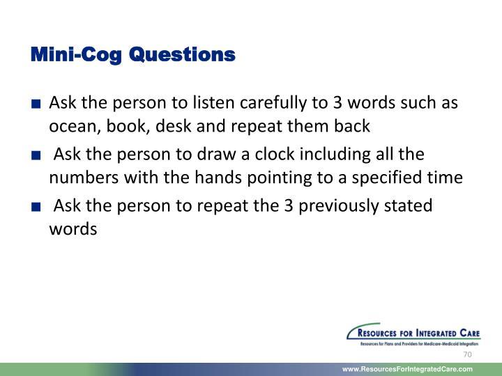 Mini-Cog Questions