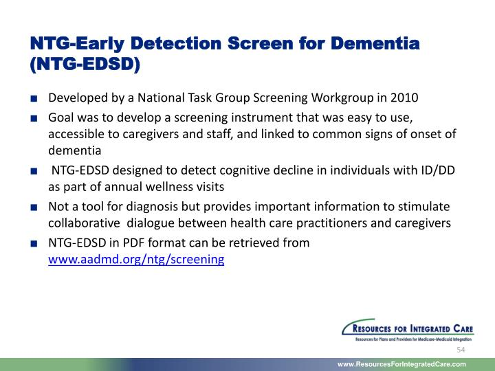 NTG-Early Detection Screen for Dementia