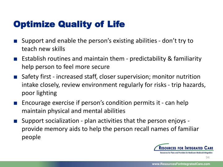 Optimize Quality of Life