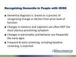 recognizing dementia in people with id dd