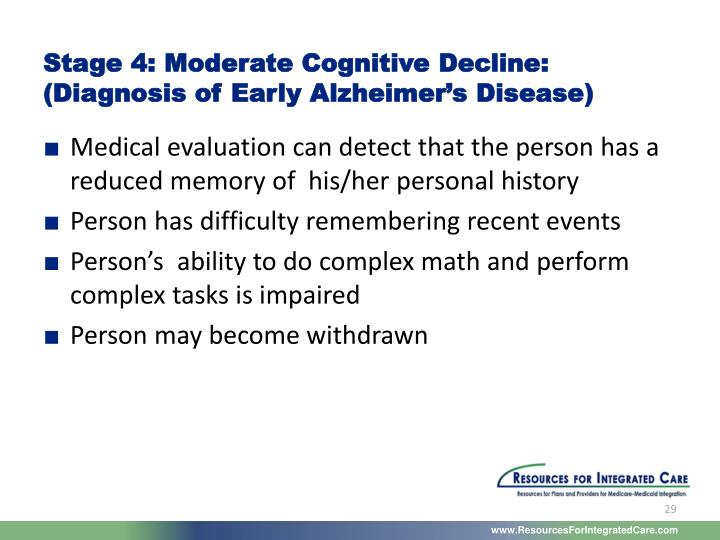 Stage 4: Moderate Cognitive Decline: (Diagnosis of Early Alzheimer's Disease)