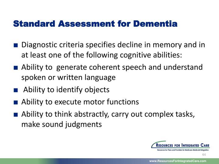 Standard Assessment for Dementia