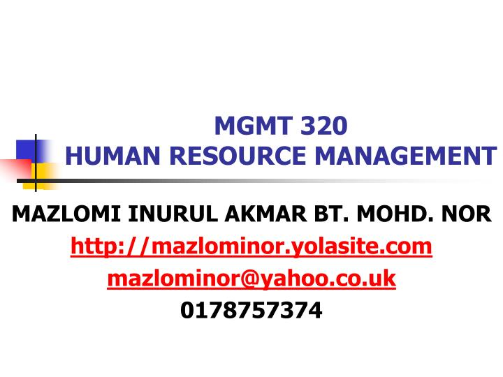 Mgmt 320 human resource management