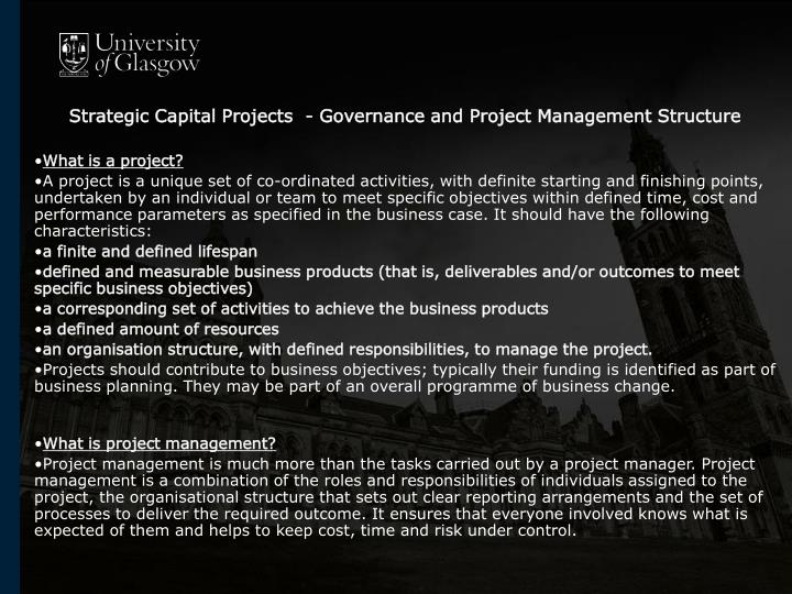 Strategic Capital Projects  - Governance and Project Management Structure